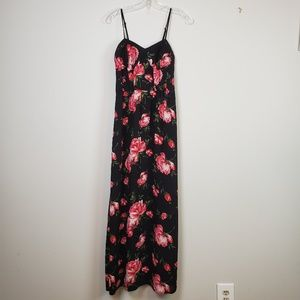 ☆ Pink & Red Floral Roses Maxi Dress